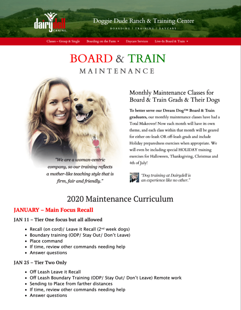 Board & Train Maintenance Classes 3